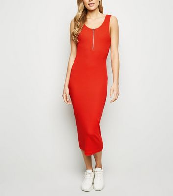 Red Ribbed Zip Front Midi Bodycon Dress