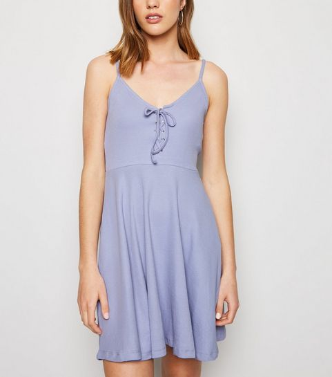 62ce9ea705 ... Lilac Ribbed Lace Up Skater Dress ...