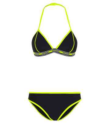 Girls Black Neon Surf Tape Bikini Set