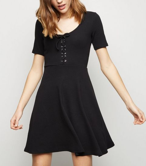 fa87ec091b ... Black Lace Up Front Skater Dress ...