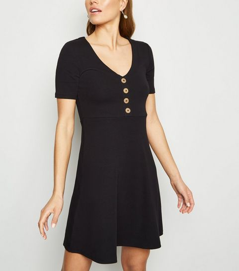 f39d6da53171 ... Black Button Front Jersey Skater Dress ...