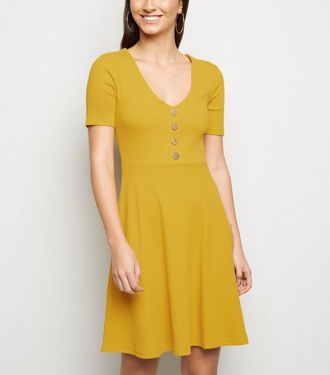 ... Mustard Button Front Jersey Skater Dress ... 461e4e629