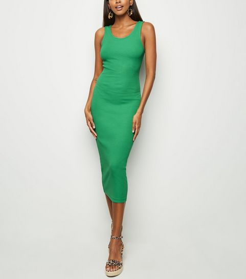 f9aae4e8bf ... Green Ribbed Bodycon Midi Dress ...