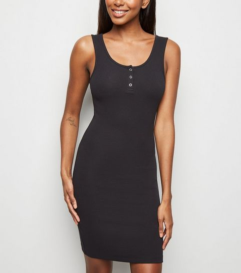 c33f604d0f ... Black Ribbed Popper Front Bodycon Dress ...