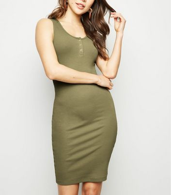 Khaki Ribbed Popper Front Bodycon Dress