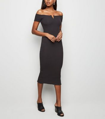 Black Ribbed Bardot Notch Neck Midi Dress