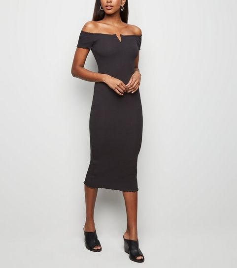 2f80af4f121 ... Black Ribbed Bardot Notch Neck Midi Dress ...