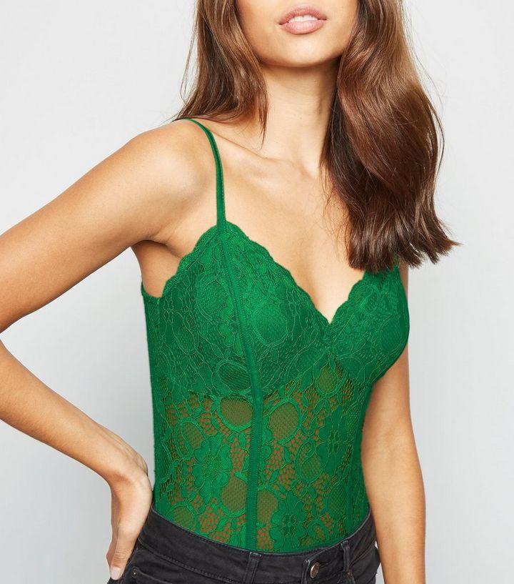 832ffe39d7 Green Sheer Lace Bodysuit | New Look