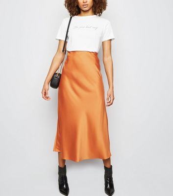 Tall Rust Satin Bias Cut Midi Skirt