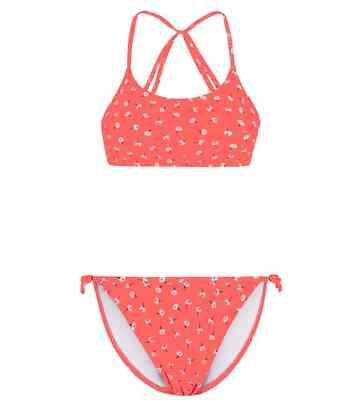 a2684e5bb4c6 Girls Coral Neon Ditsy Floral Crinkle Bikini Set ...
