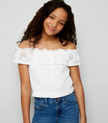 Girls White Lace Frill Bardot Top