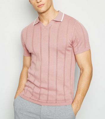 Pink Knit Notch Neck Muscle Fit Polo Shirt