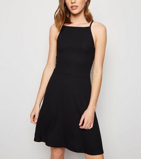 92ae3e0cf1 ... Black Waffle Jersey Skater Dress ...