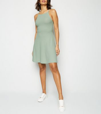 Light Green Waffle Jersey Skater Dress