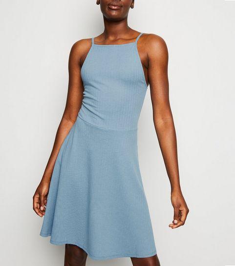 32e7f6598c ... Blue Waffle Jersey Skater Dress ...