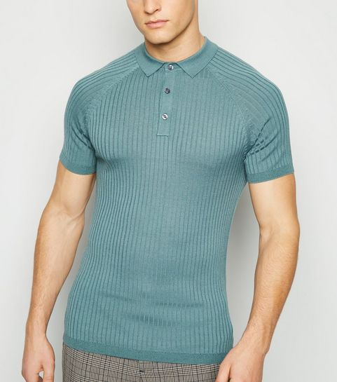 ceda1e19062d ... Teal Knit Muscle Fit Polo Shirt ...