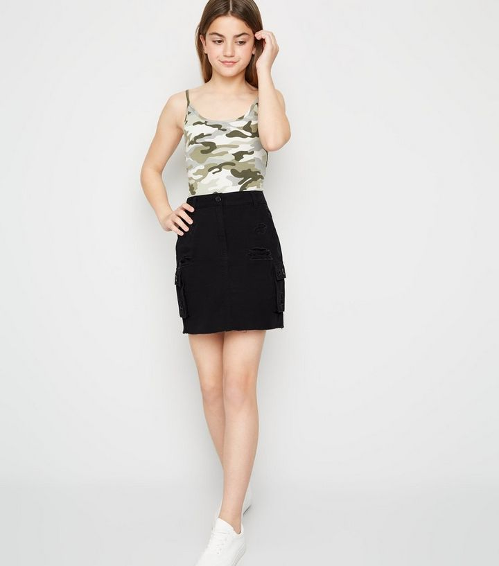 Girls Black Ripped Utility Mini Skirt New Look