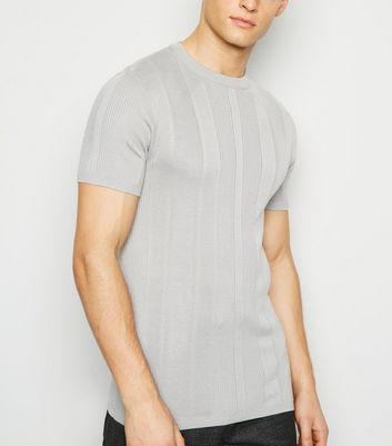 Grey Knit Short Sleeve Muscle Fit T-Shirt
