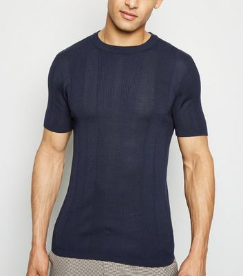 Navy Knit Short Sleeve Muscle Fit T-Shirt