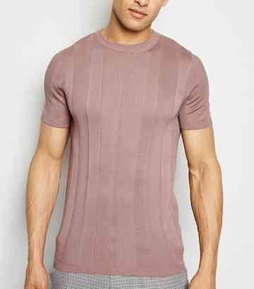 33a63eb174b7 Mid Pink Knit Short Sleeve Muscle Fit T-Shirt ...