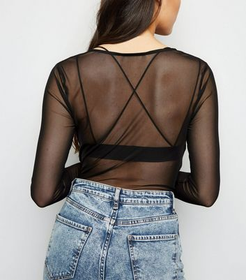 Black Mesh Ruched Long Sleeve Top New Look