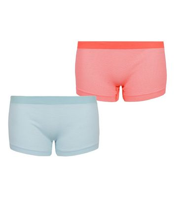 Girls 2 Pack Blue and Pink Neon Stripe Briefs