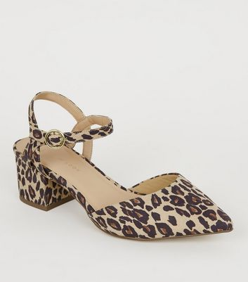 Wide Fit Stone Leopard Print Pointed Courts