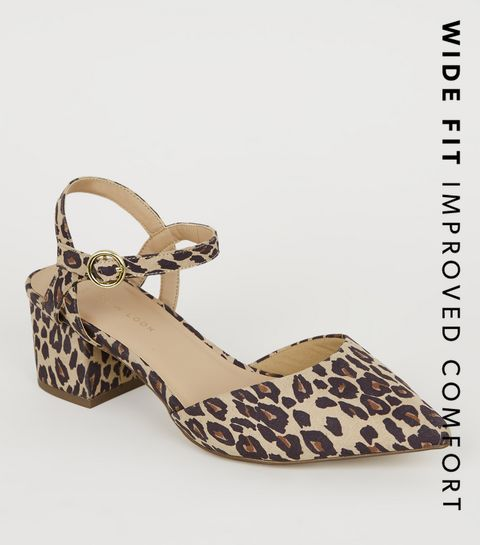 5063d8fa723 ... Wide Fit Leopard Print Pointed Block Heels ...