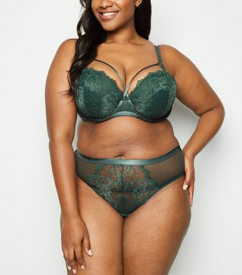 Curves Green Strapping Lace Plunge Bra