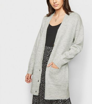 Pale Grey Button Up Belted Cardigan
