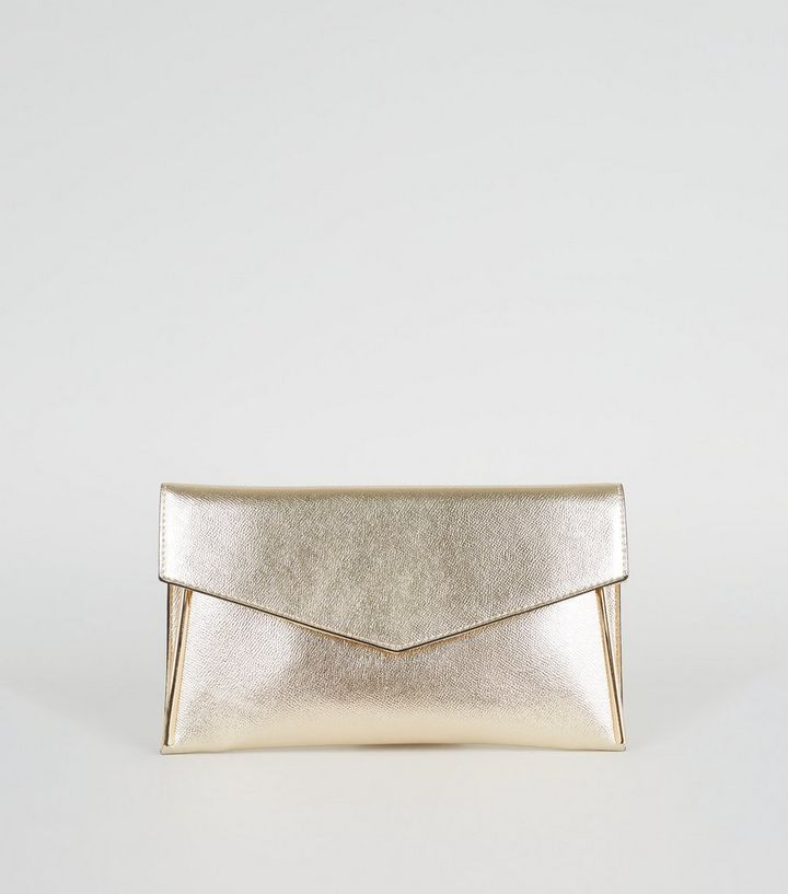 Gold Metallic Leather Look Clutch Bag