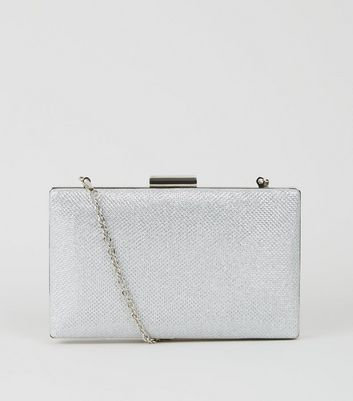 Silver Glitter Box Bag by New Look