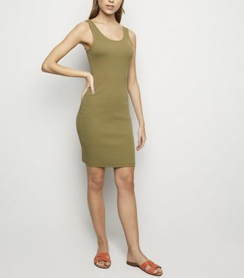 Khaki Ribbed Mini Bodycon Dress