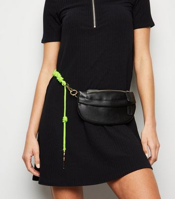 Black Leather-Look Plaited Neon Strap Bum Bag