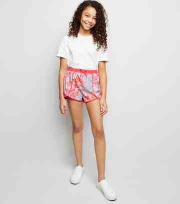 Girls Pink Neon Tie Dye Beach Shorts