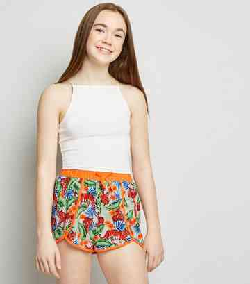 Girls White Tiger Print Neon Binding Beach Shorts