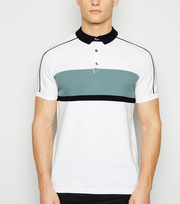 White Short Sleeve Colour Block Polo Shirt