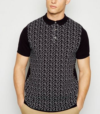 Black Knit Geometric Polo Shirt