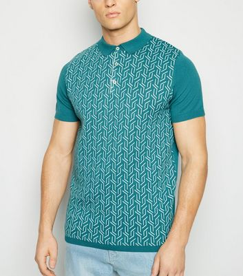 Teal Knit Geometric Polo Shirt