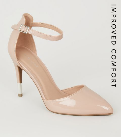 66051e3157bf ... Nude Patent 2 Part Pointed Stiletto Heels ...