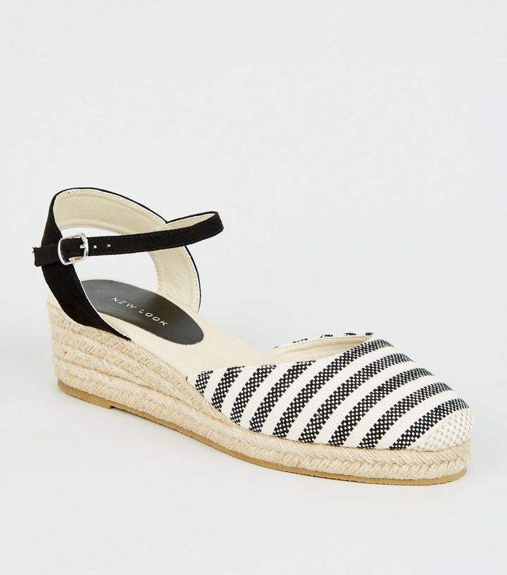 425132b1917 Black Stripe Woven Espadrille Wedges Add to Saved Items Remove from Saved  Items