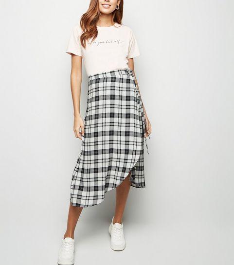 964b709325fd4 ... White Check Wrap Midi Skirt ...