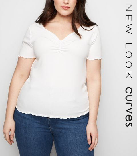 ec30065298de8 ... Curves White Ribbed Ruched Front T-Shirt ...