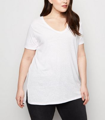 Curves White V Neck Step Hem T-Shirt