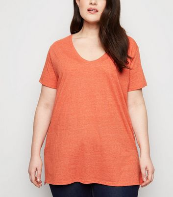 Curves Bright Orange V Neck Step Hem T-Shirt