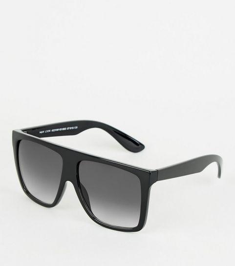 a84f76bc7e0 ... Black Flat Top Oversized Sunglasses ...