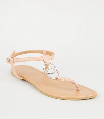 Nude Diamanté Linked Ring Strap Flat Sandals