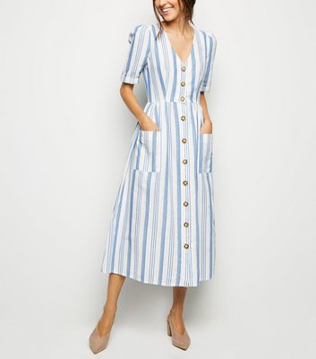 Cameo Rose White Stripe Button Midi Dress