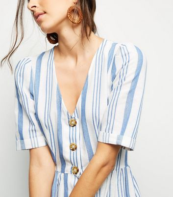 shop for Cameo Rose White Stripe Button Midi Dress New Look at Shopo