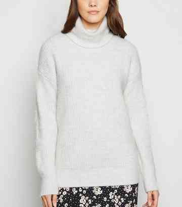 Pale Grey Slouchy Roll Neck Jumper